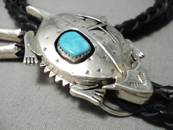 So Detailed! Native American Navajo Horny Toad Sterling Silver Turquoise Bolo Tie