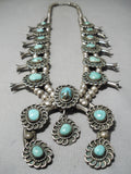 Heavy Quality Vintage Native American Navajo Turquoise Sterling Silver Squash Blossom Necklace