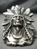 Colossal Native American Navajo Sterling Silver Feather Chief Ring