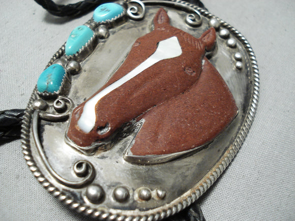 Important Jim Yazzie Vintage Native American Navajo Horse Turquoise Sterling Silver Bolo Tie