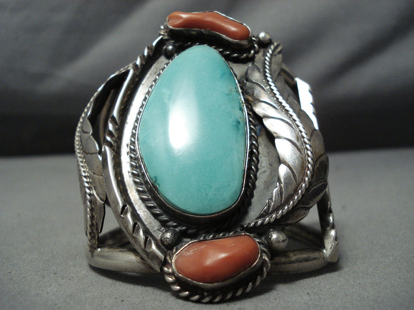 One Of Best Vintage Native American Navajo Carico Lake Turquoise Coral Sterling Silve Rbracelet