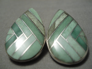 Native American Huge Intricate!! Navajo Royston Turquoise Sterling Silver Earrings