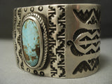 Elongated Green Royston Turquoise Vintage Navajo Sterling Native American Jewelry Silver Bracelet Old-Nativo Arts