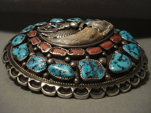 Enormous Vintage Navajo Turquoise Native American Jewelry Silver Buckle-Nativo Arts