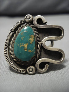Exceptional Vintage Native American Navajo Cerrillos Turquoise Sterling Silver Ring Old-Nativo Arts