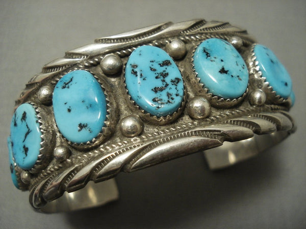 Exceptional Vintage Navajo Blue Turquoise Sterling Native American Jewelry Silver Bracelet Old
