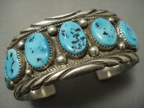 Exceptional Vintage Navajo Blue Turquoise Sterling Native American Jewelry Silver Bracelet Old-Nativo Arts