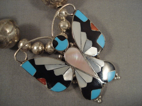 Exceptional Vintage Navajo Butterfly Turquoise Sterling Native American Jewelry Silver Necklace-Nativo Arts