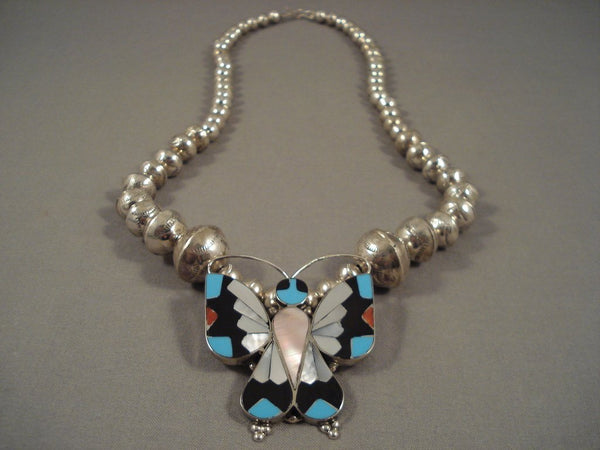 Exceptional Vintage Navajo Butterfly Turquoise Sterling Native American Jewelry Silver Necklace