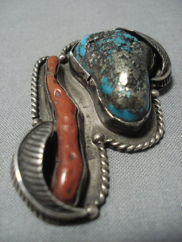Exceptional Vintage Navajo Native American Jewelry jewelry Turquoise Coral Sterling Silver Pendant-Nativo Arts