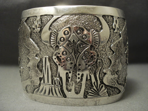 Exceptional Vintage Navajo Symbols Mountains Sterling Native American Jewelry Silver Becenti Bracelet-Nativo Arts