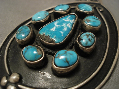 Exceptional Vintage Navajo Villa Grove Turquoise Native American Jewelry Silver Necklace-Nativo Arts