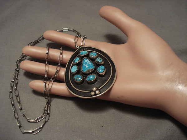Exceptional Vintage Navajo Villa Grove Turquoise Native American Jewelry Silver Necklace