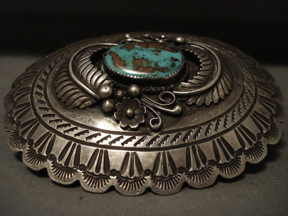 Expert Stamp Vintage Navajo Natural Royston Turquoise Native American Jewelry Silver Belt Buckle-Nativo Arts