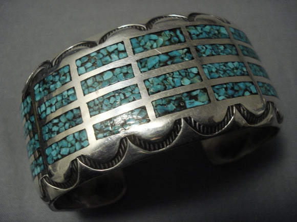 Exquisite Vintage Navajo 'Channels Of Turquoise' Sterling Native American Jewelry Silver Bracelet-Nativo Arts