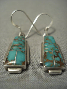 Exquisite Vintage Navajo Royston Turquoise Sterling Native American Jewelry Silver Earrings-Nativo Arts