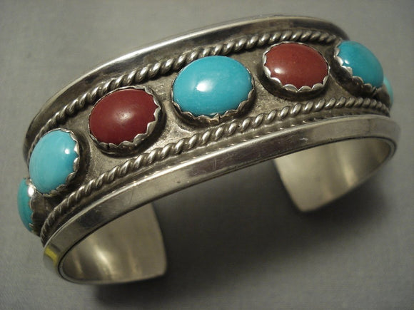 Exquisite Vintage Navajo Turquoise Sterling Native American Jewelry Silver Bracelet Old Pawn-Nativo Arts