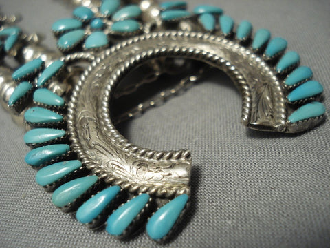 Exquisite Vintage Navajo/ Zuni Turquoise Sterling Native American Jewelry Silver Squash Blossom Necklace-Nativo Arts