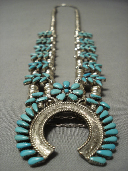 Exquisite Vintage Navajo/ Zuni Turquoise Sterling Native American Jewelry Silver Squash Blossom Necklace