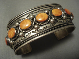 Extra Detailed Vintage Navajo Jake Spiny Oyster Sterling Native American Jewelry Silver Bracelet-Nativo Arts