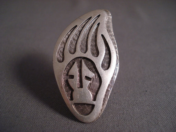 Extremely Detailed Vintage Hopi Paw Native American Jewelry Silver Ring-Nativo Arts