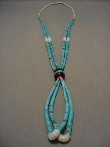 Eye Catching Vintage Navajo Native American Jewelry jewelry/ Santo Domingo Bsibee Turquoise Necklace-Nativo Arts