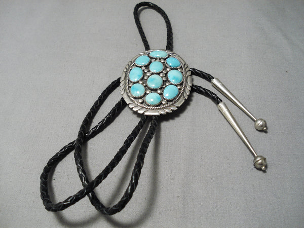 Tremendous Vintage Native American Navajo Sky Blue Turquoise Sterling Silver Bolo Tie Old