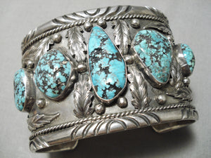 Best For Large Wrist Vintage Native American Navajo Spiderweb Turquoise Sterling Silver Bracelet
