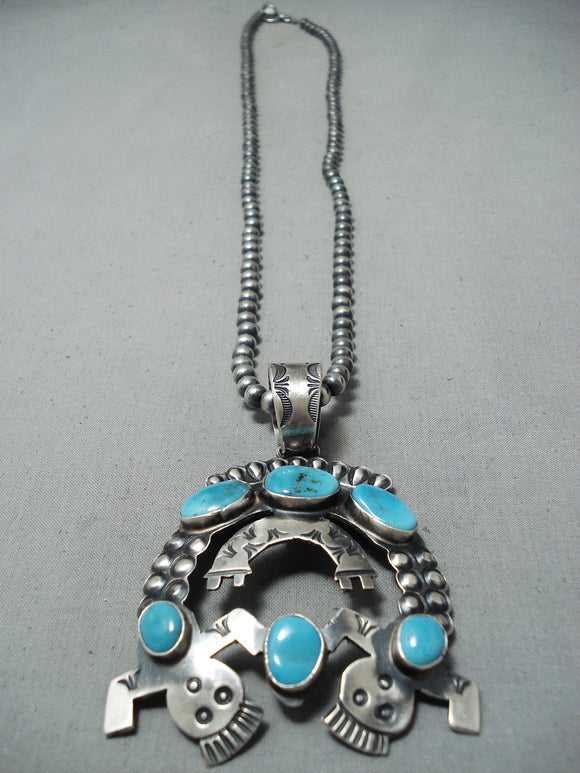 Astonishing Vintage Native American Navajo Morenci Turquoise Sterling Silver Necklace Old