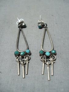 Fabulous Vintage Native American Navajo Green Blue Turquoise Sterling Silver Earrings Old