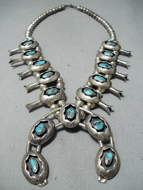 Rare Vintage Native American Navajo Morenci Turquoise Sterling Silver Squash Blossom Necklace