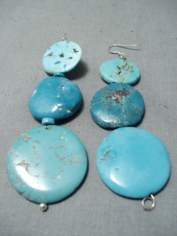 Marvelous Navajo Turquoise Sterling Silver Earrings Native American