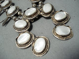 Women's Vintage Native American Navajo Pearl Sterling Silver Squash Blossom Necklace