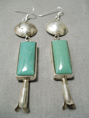 Fabulous Vintage Native American Navajo Squared Royston Turquoise Sterling Silver Earrings