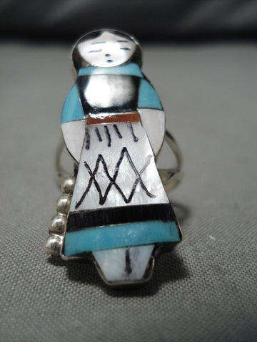 Exquisite Vintage Native American Zuni Turquoise Inlay Sterling Silver Corn Maiden Ring