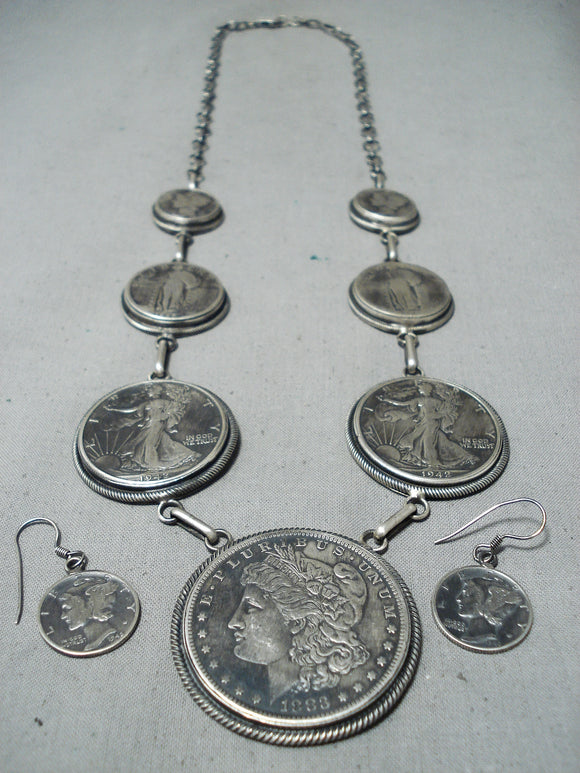 Unbelievable Native American Navajo Old Coins Sterling Silver Necklace & Earring Set