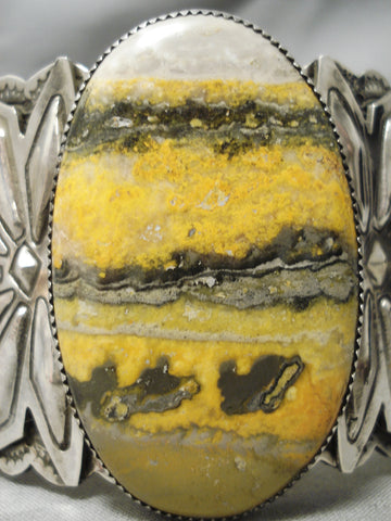 The Biggest Best Native American Bumble Bee Sterling Silver Repoussed Bracelet
