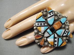 One Of Biggest Navajo Turquoise Sterling Silver Native American Ring