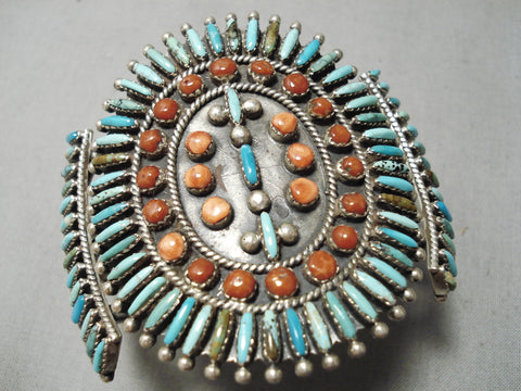 Best Vintage Native American Navajo Needle Turquoise Coral Sterling Silver Bracelet Old