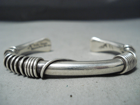 Authentic Vintage Native American Navajo Orville Tsinnie Sterling Silver Coil Bracelet Old