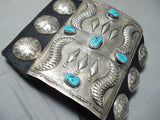 Tremendous Vintage Native American Navajo Kingman Turquoise Sterling Silver Bowguard