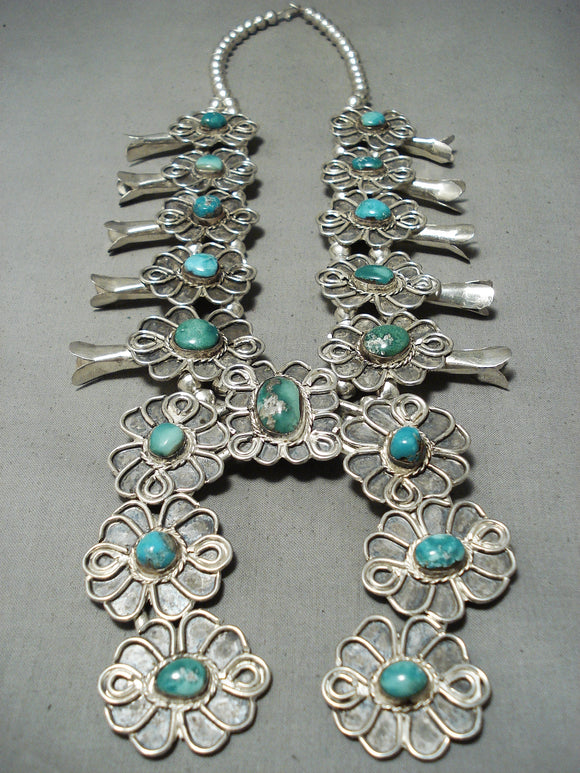 One Of Biggest Vintage Native American Navajo Turquoise Sterling Silver Squash Blossom Necklace