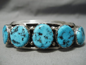 Incredible Vintage Native American Navajo Sleepingbeauty Turquoise Sterling Silver Bracelet Old