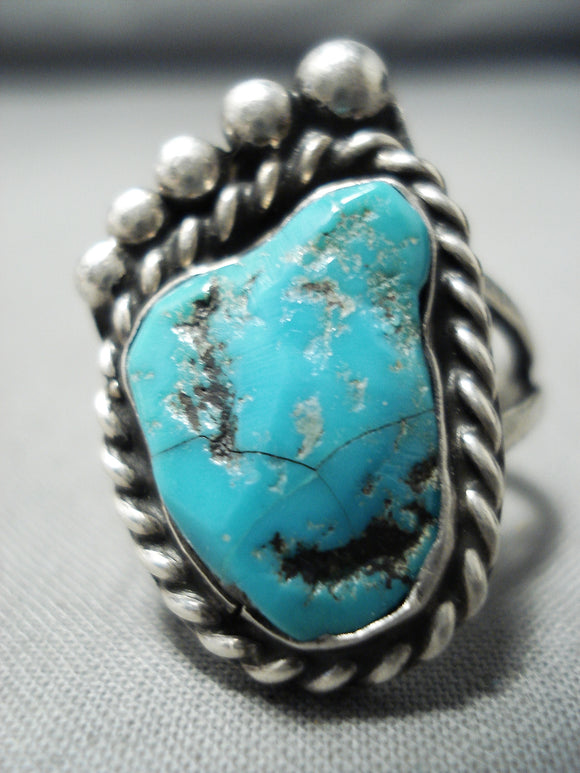 Unique Vintage Native American Navajo Turquoise Foot Sterling Silver Ring Old