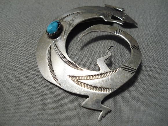 Fabulous Native American Navajo Gecko Sterling Silver Pin