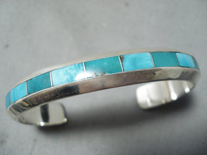 Coonsis Zuni Kingman Turquoise Sterling Silver Bracelet Native American