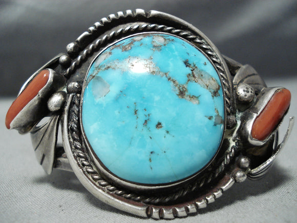 One Of The Best Vintage Native American Navajo Morenci Turquoise Coral Sterling Silver Bracelet