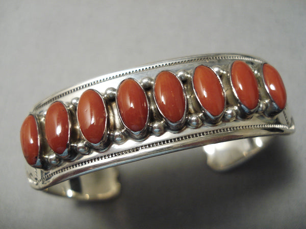 Incredible Navajo Domed Coral Sterling Silver Native American Bracelet