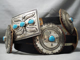 Huge Heavy Vintage Native American Navajo Turquoise Sterling Silver Concho Belt Old
