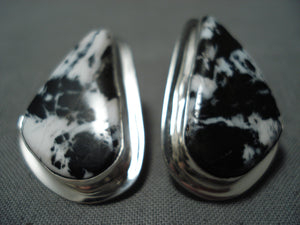 Native American Tommy Jackson White Buffalo Turquoise Sterling Silver Earrings